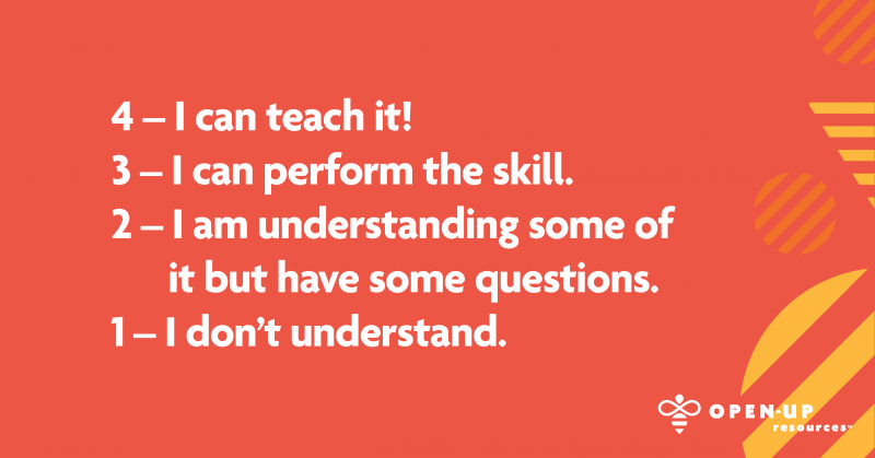 4 - I can teach it! 3 - I can perform the skill. 2 - I am understanding some of it but have some questions. 1 - I don't understand.